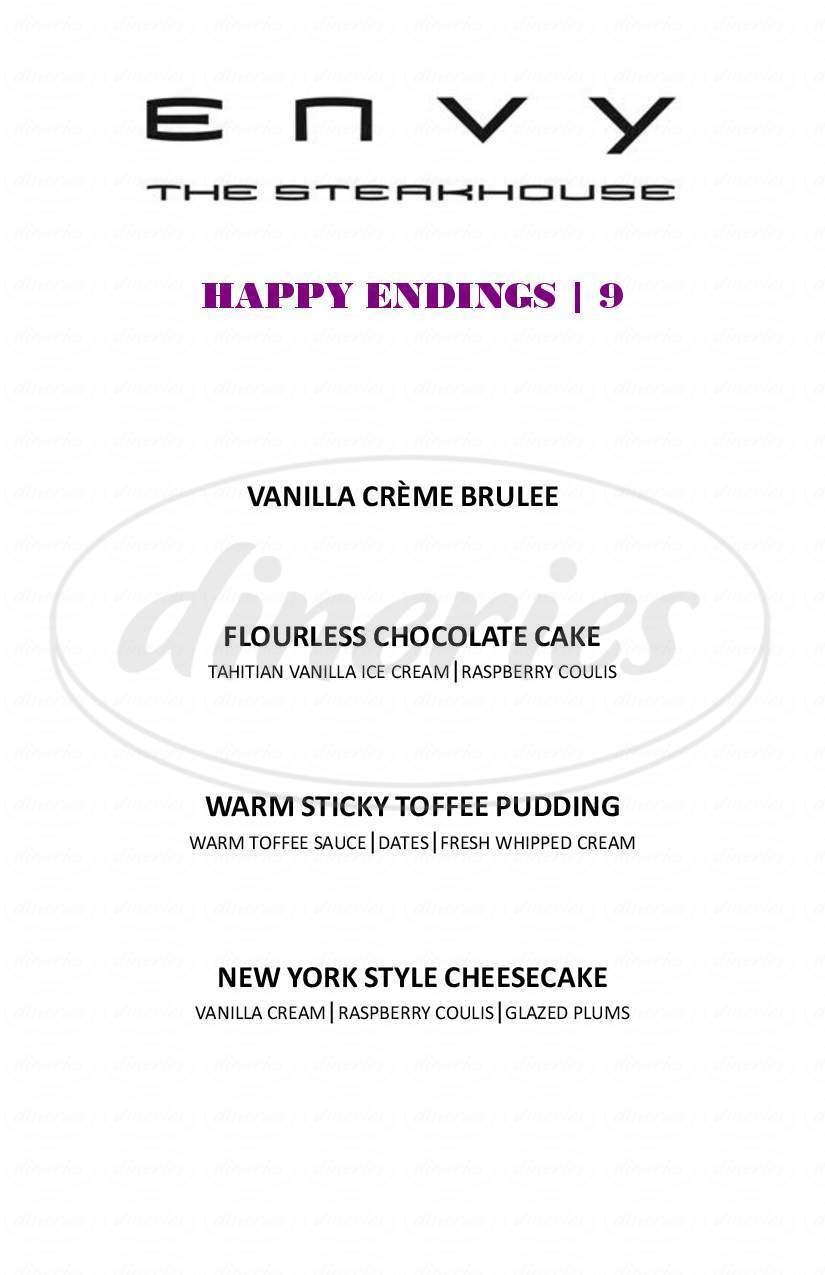 menu for ENVY The Steakhouse