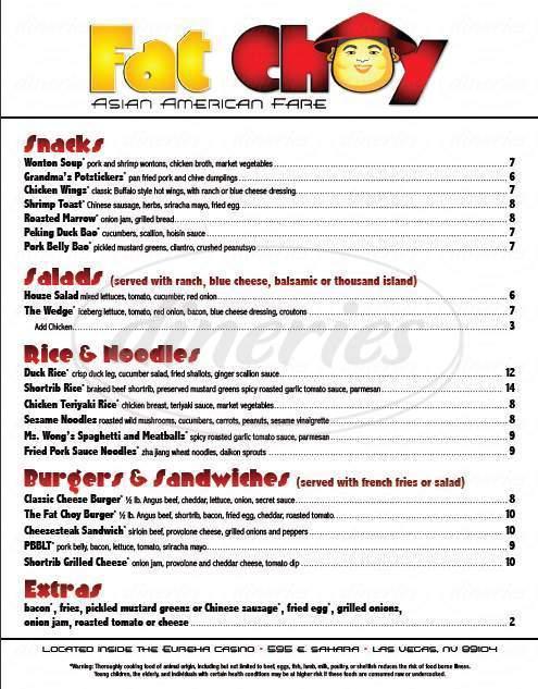 menu for Fat Choy