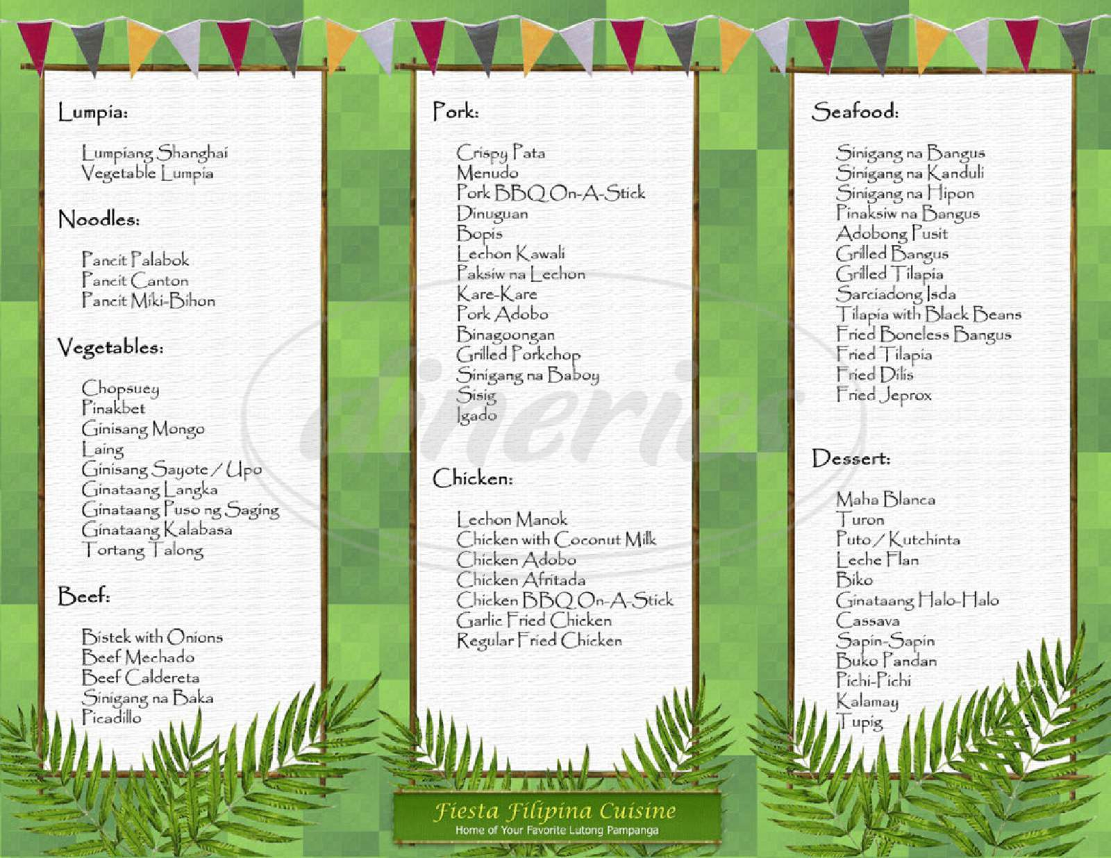 menu for Fiesta Filipina Cuisine