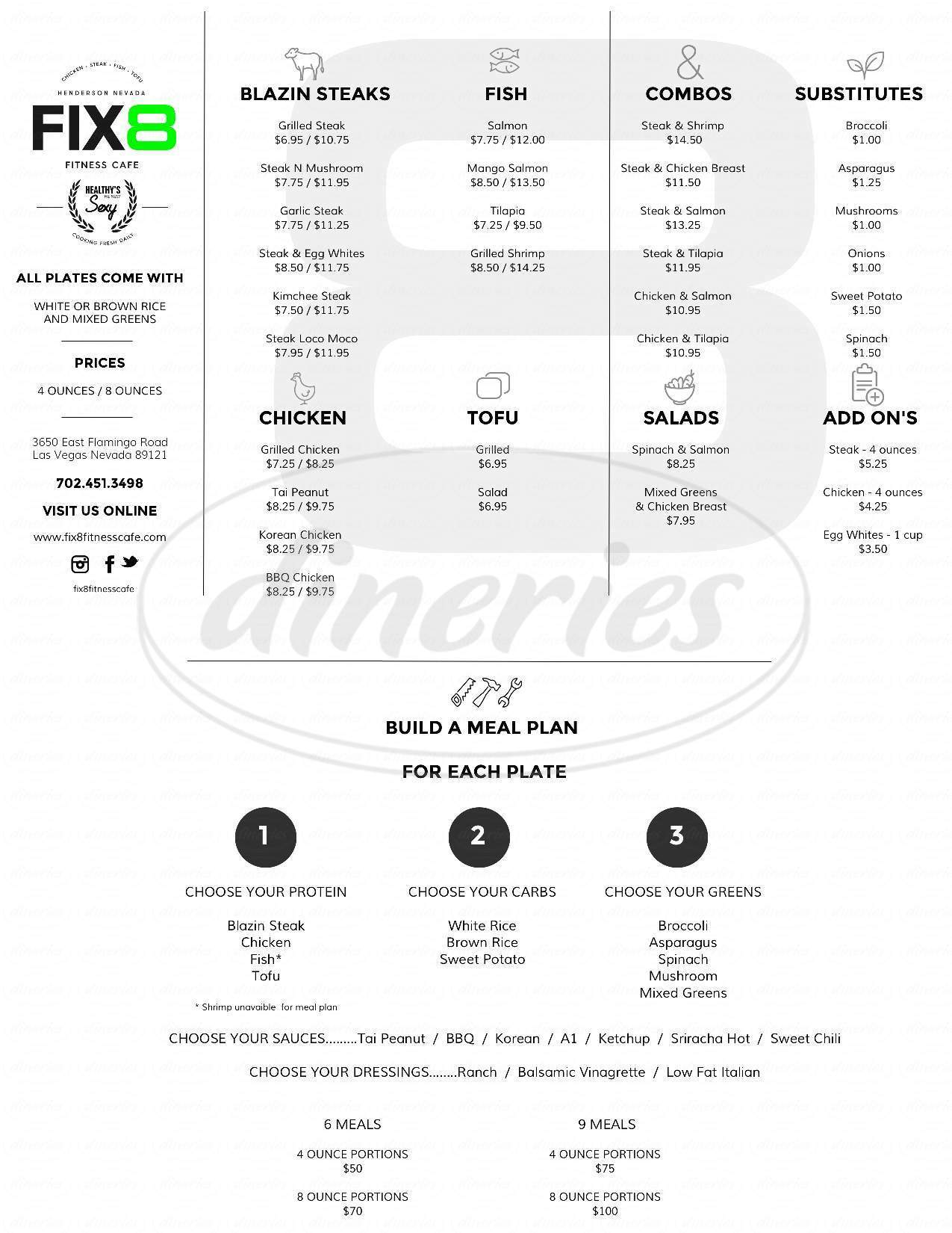menu for Fix8 Fitness Cafe