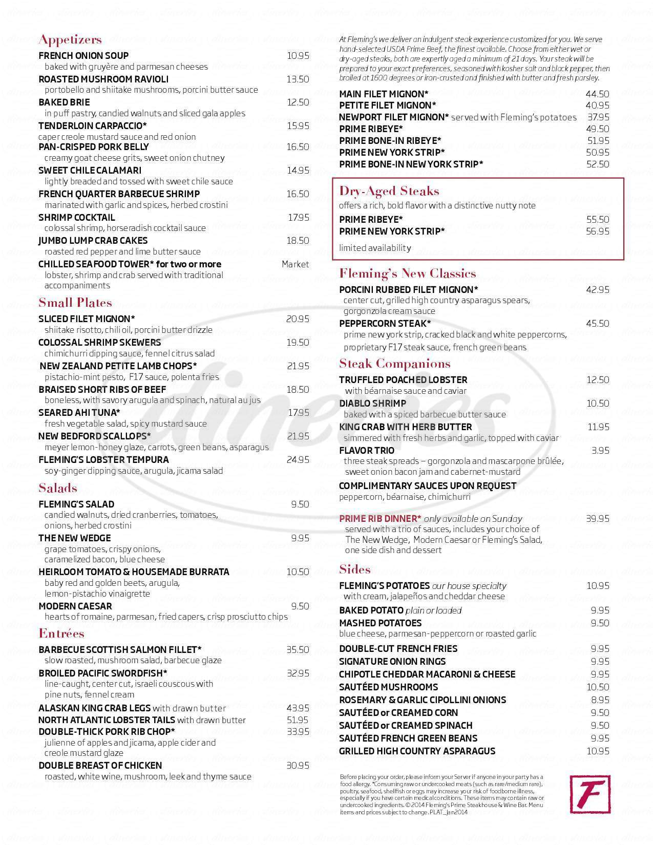 menu for Fleming's Prime Steakhouse & Wine Bar
