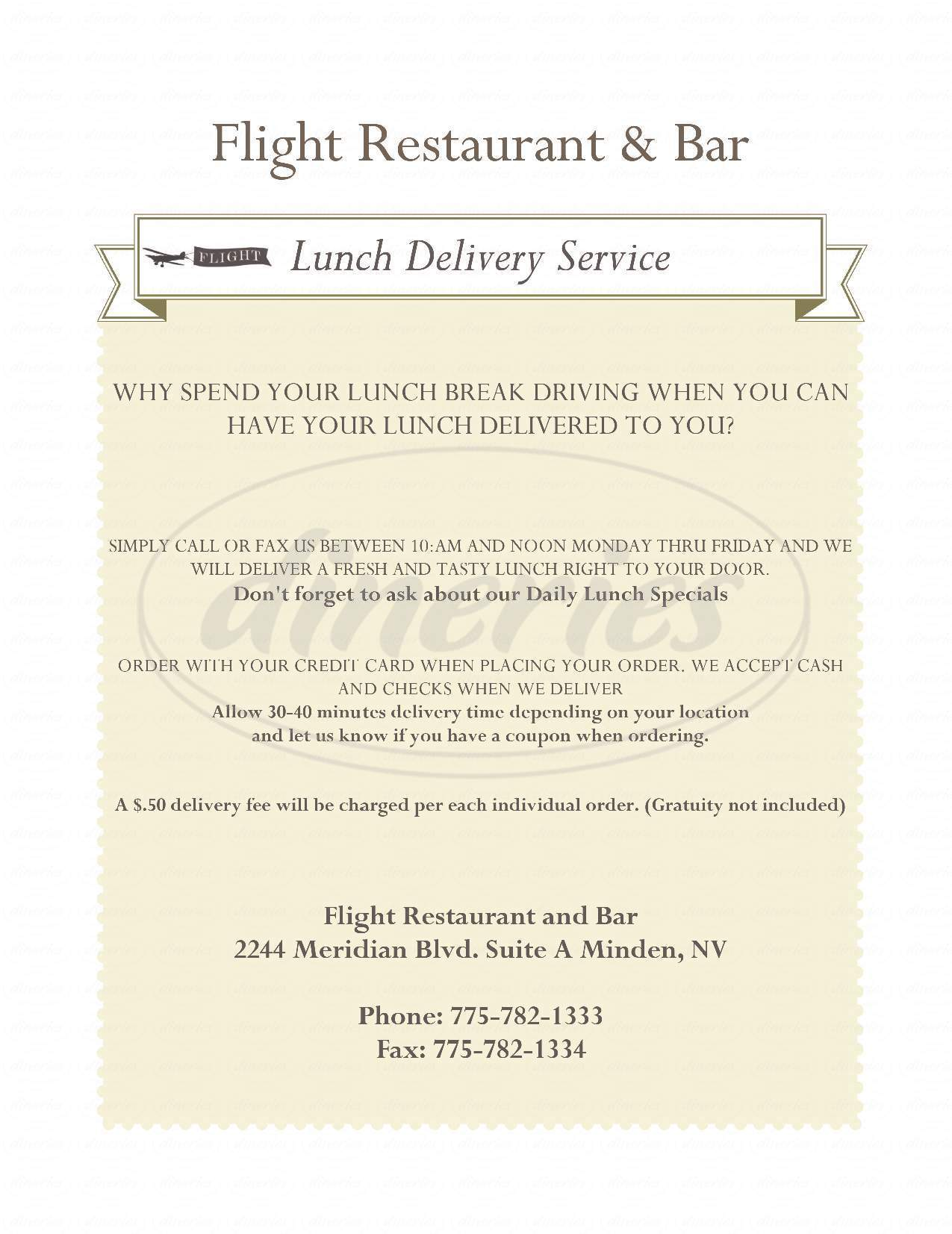 menu for Flight Restaurant and Bar