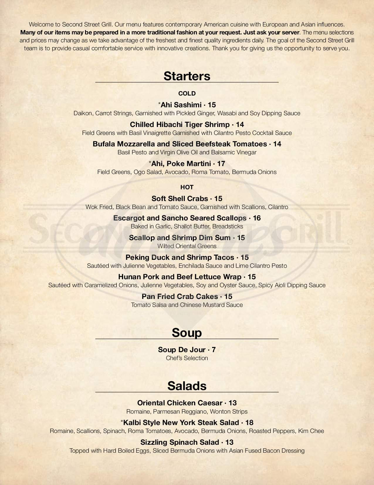 menu for Second Street Grill