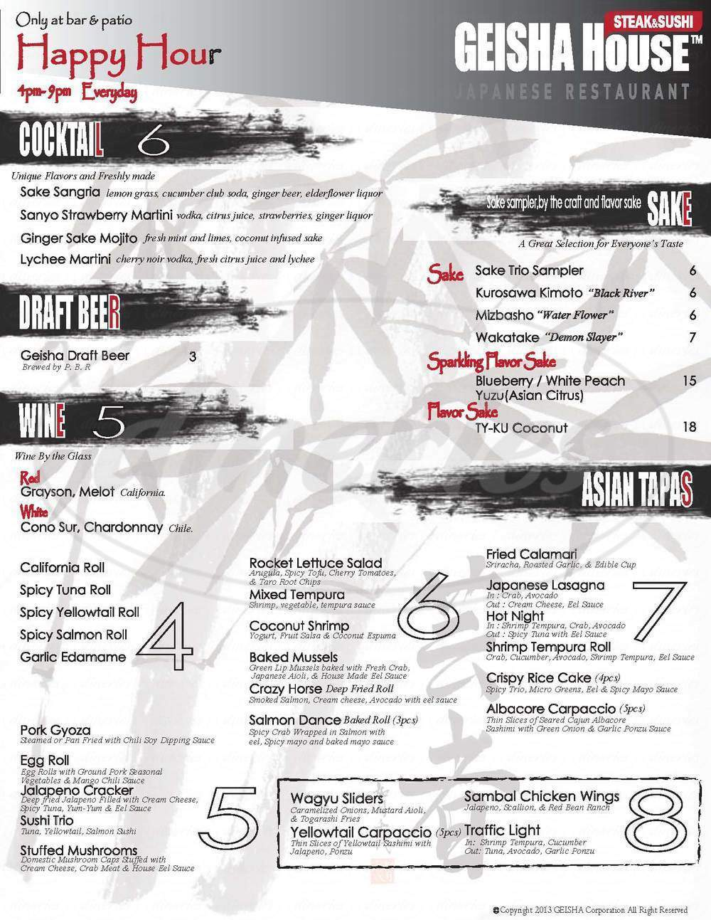 menu for Geisha House Steak & Sushi