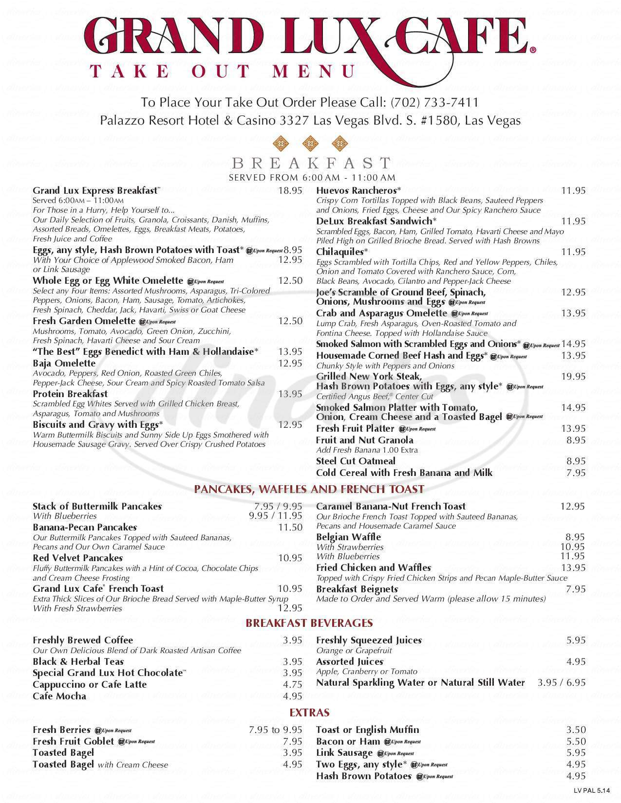 menu for Grand Lux Cafe