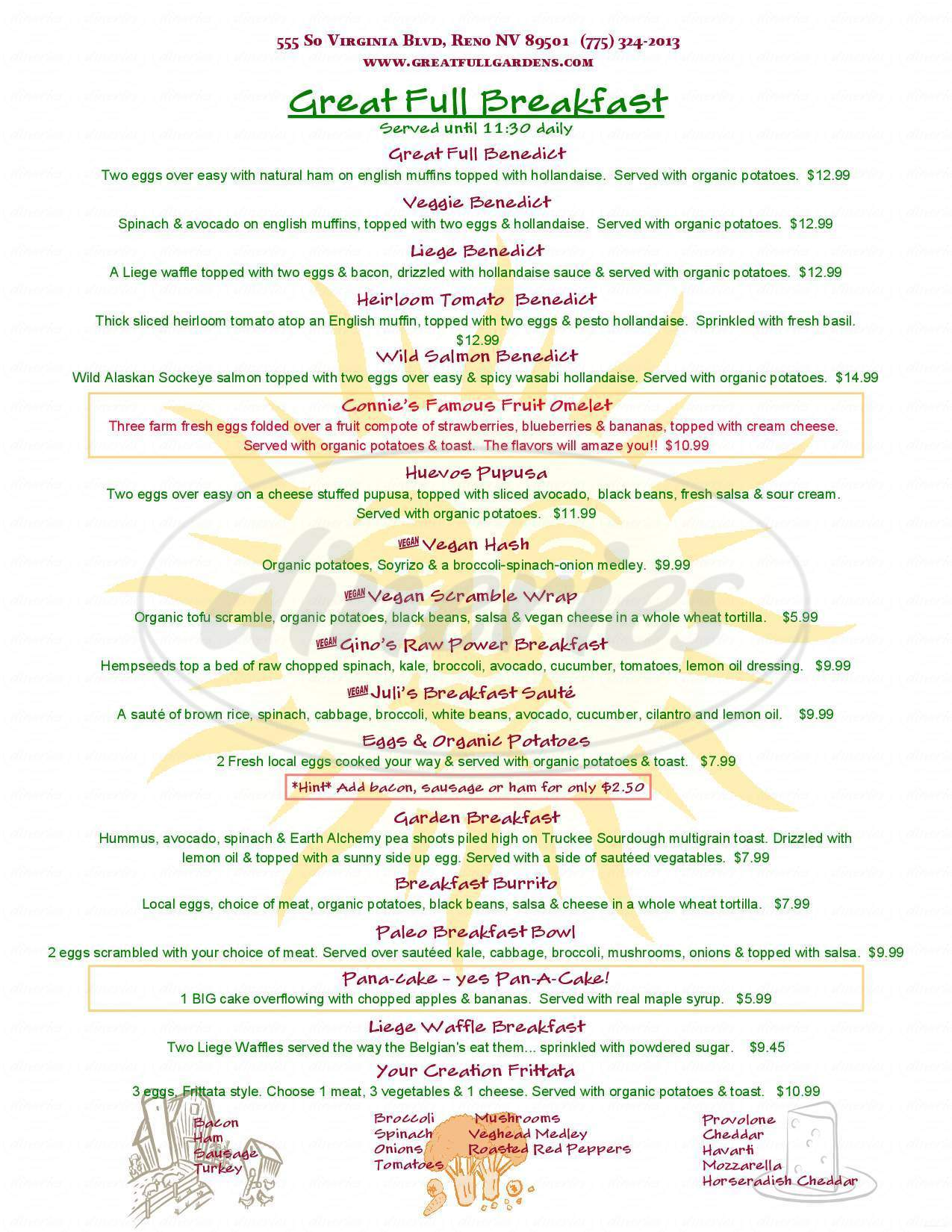 menu for Pathways Cafe