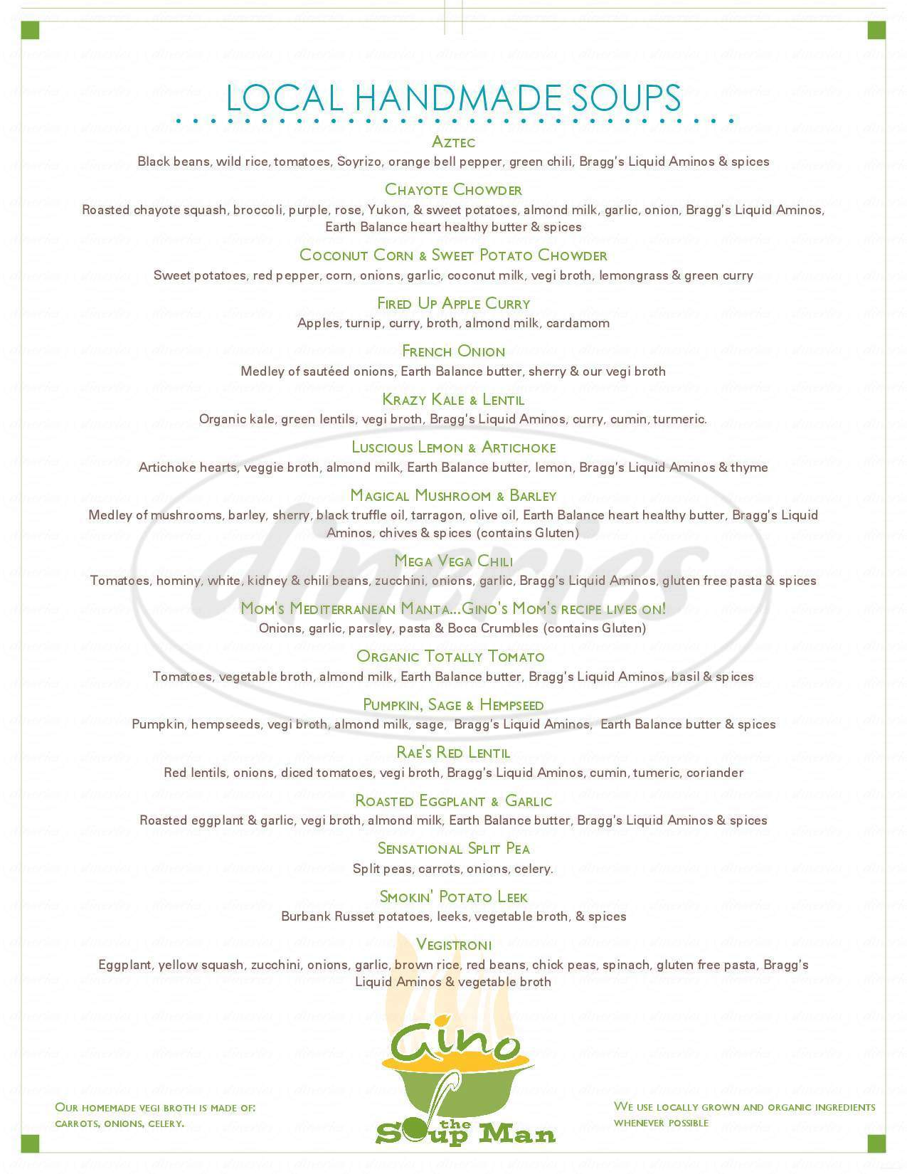 menu for Great Full Gardens Cafe & Eatery