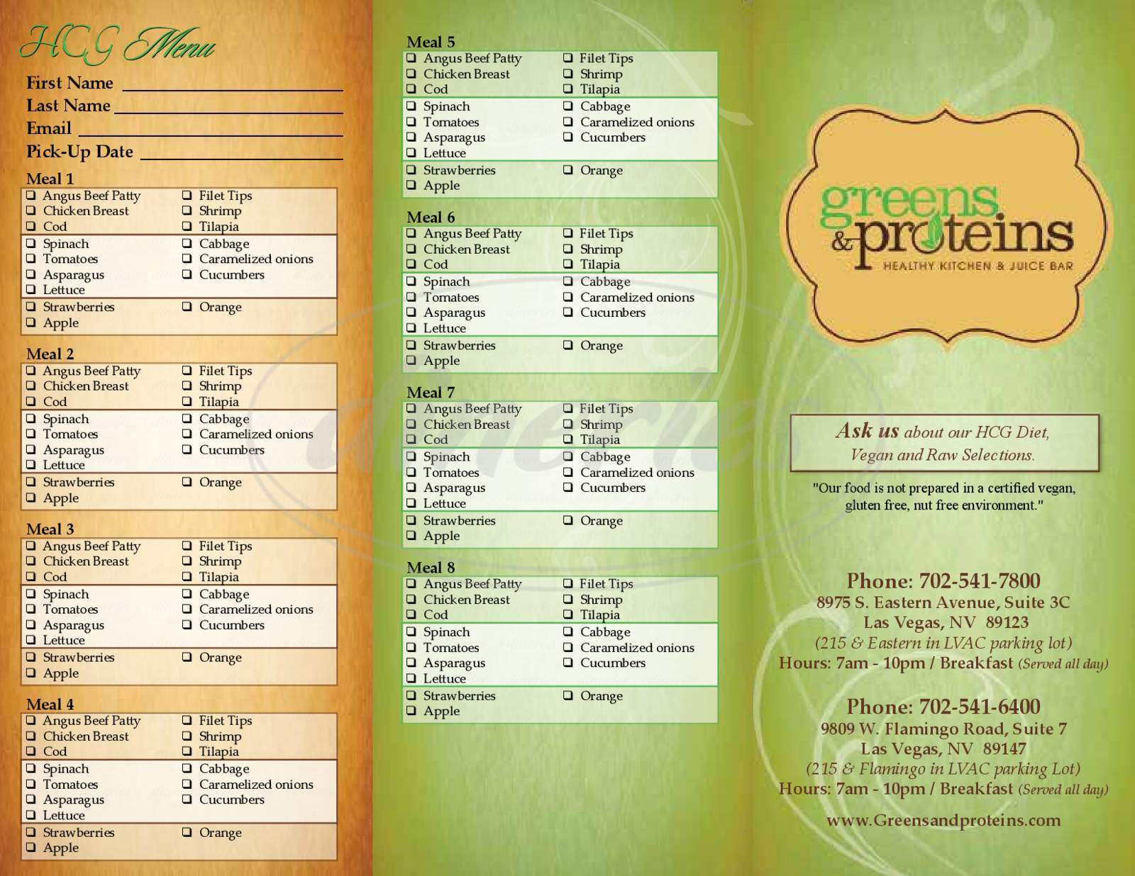 menu for Greens and Proteins