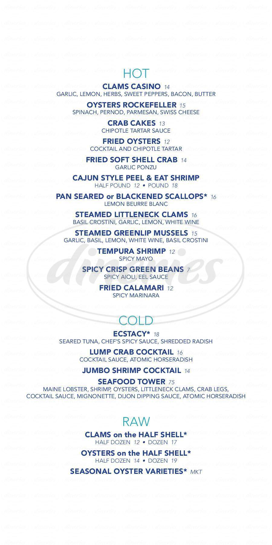 menu for Tides Oyster Bar
