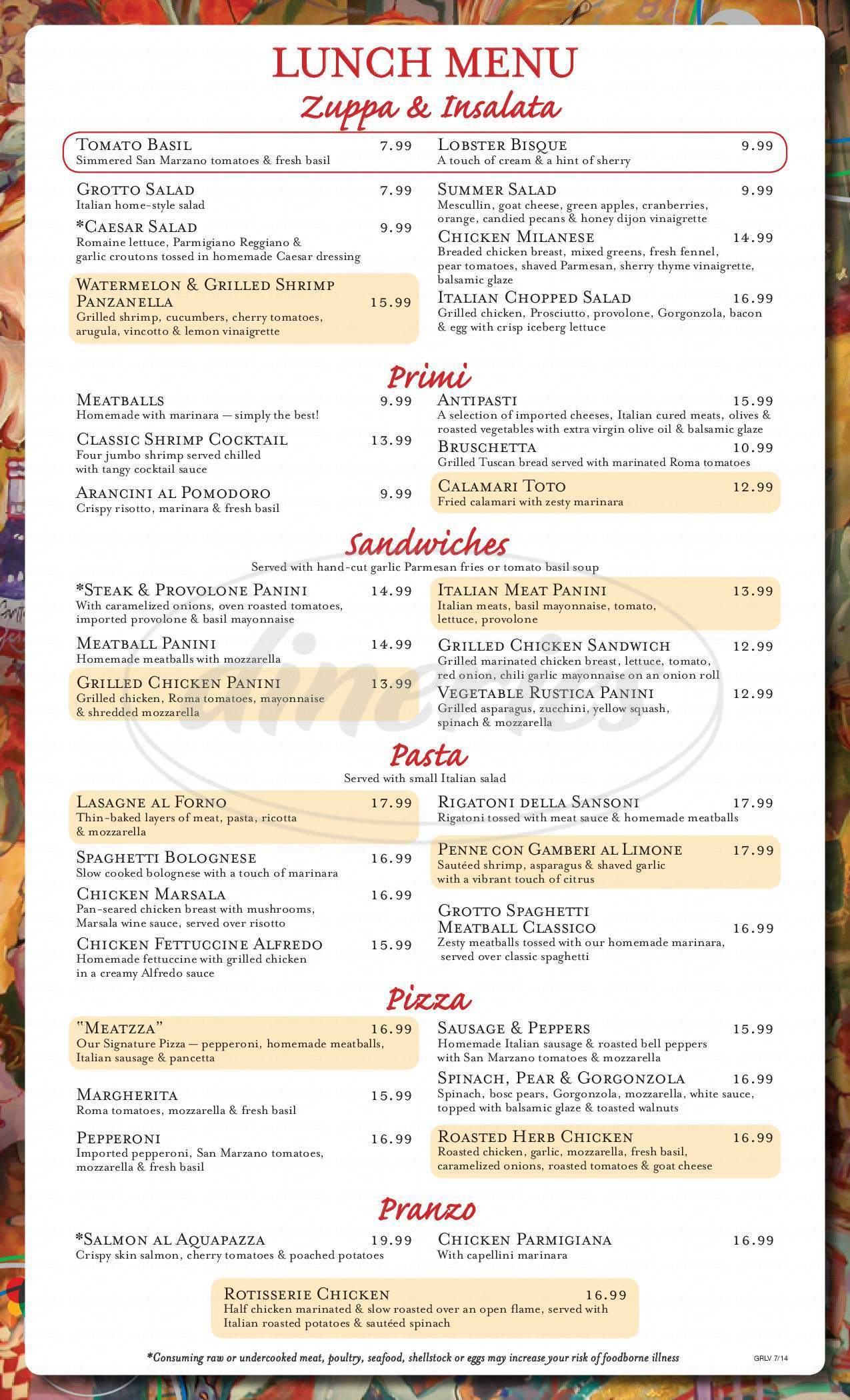 menu for Grotto Ristorante