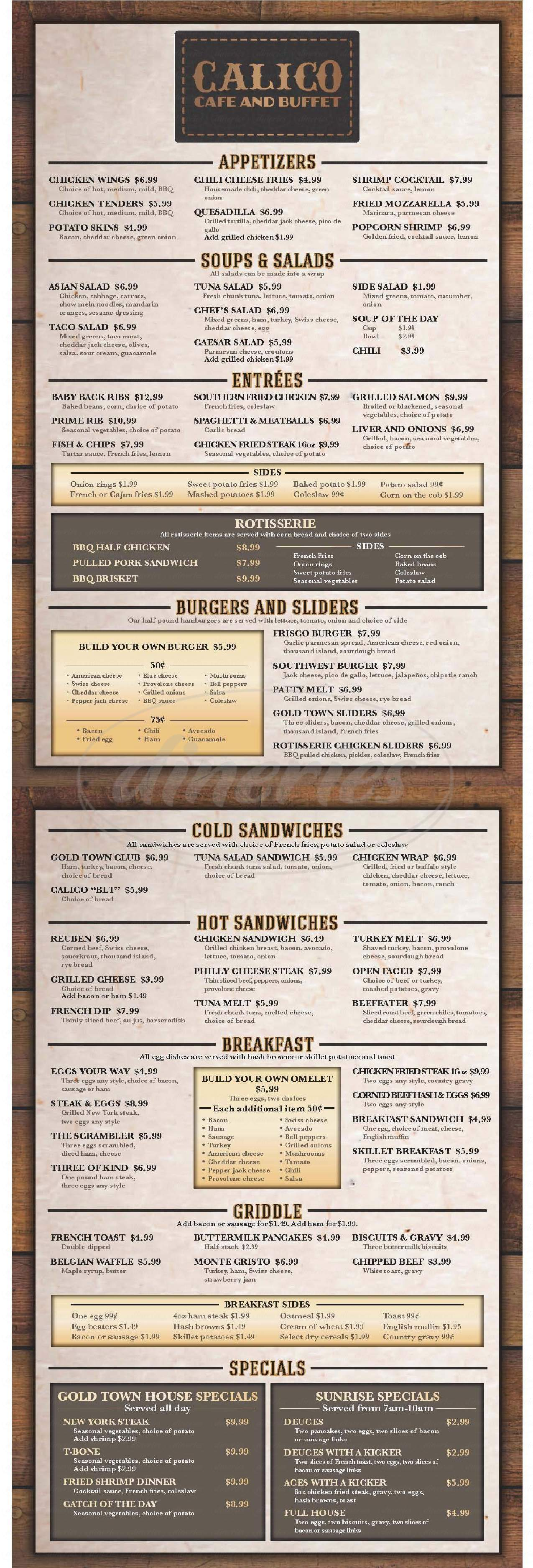 menu for Gold Town Casino