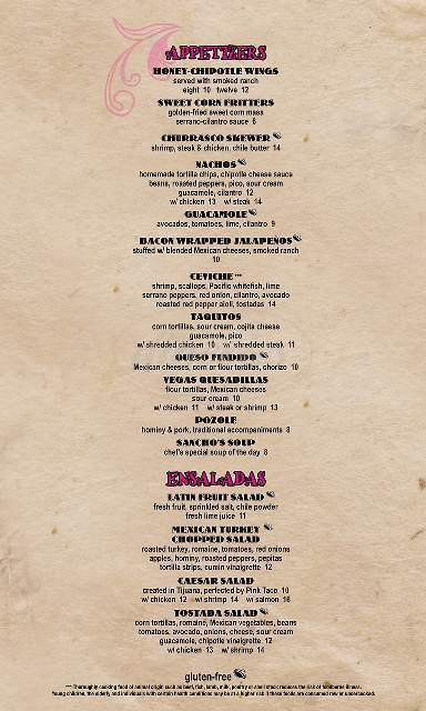 menu for Pink Taco