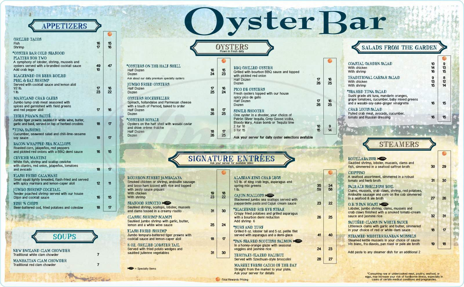 menu for Oyster Bar at Harrah's