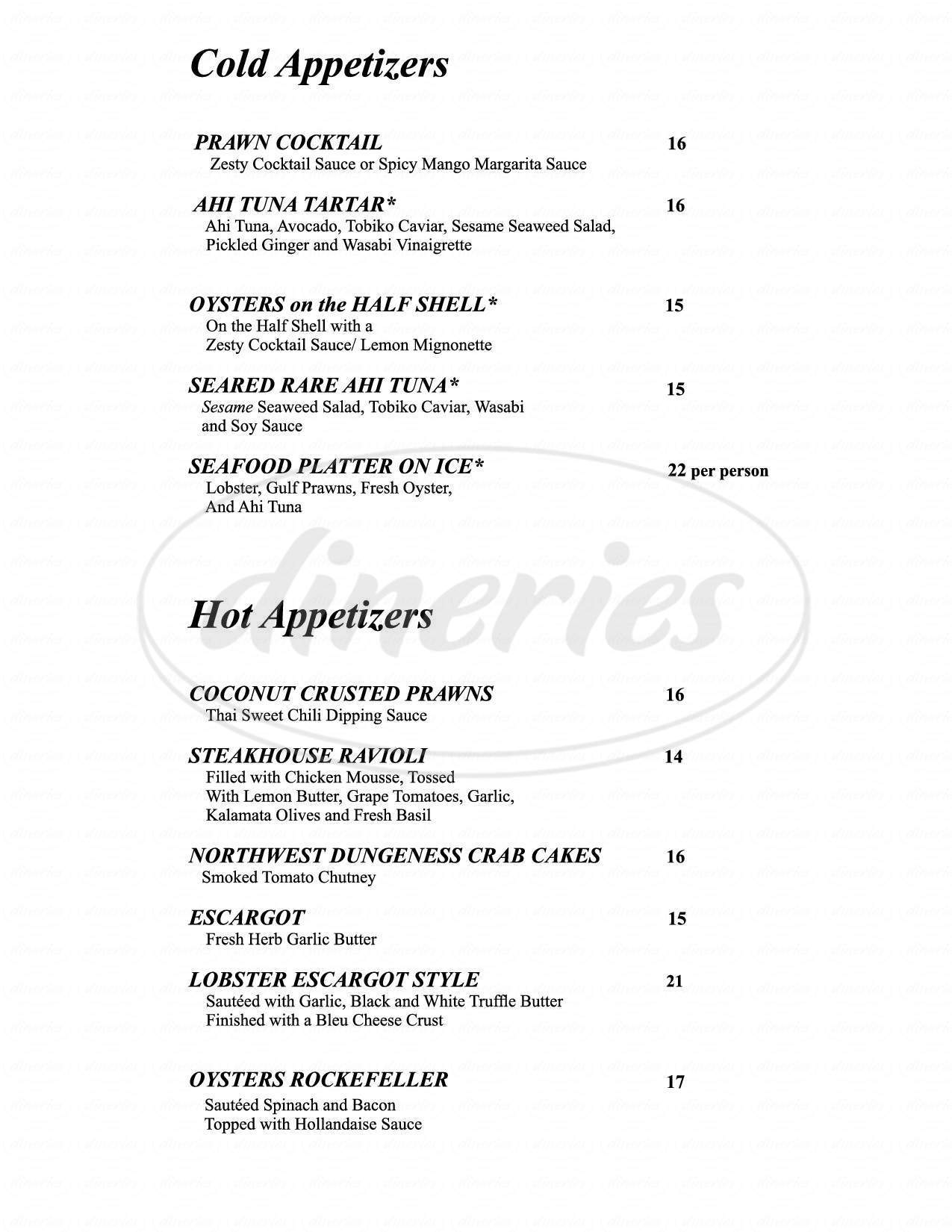 menu for Harrah's Steak House