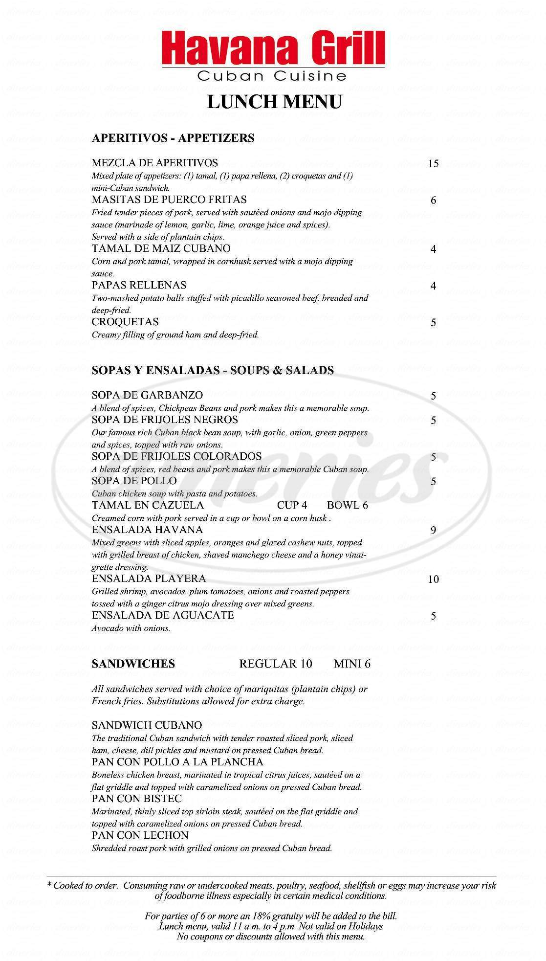 menu for Havana Grill