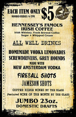 menu for Hennessey's Tavern