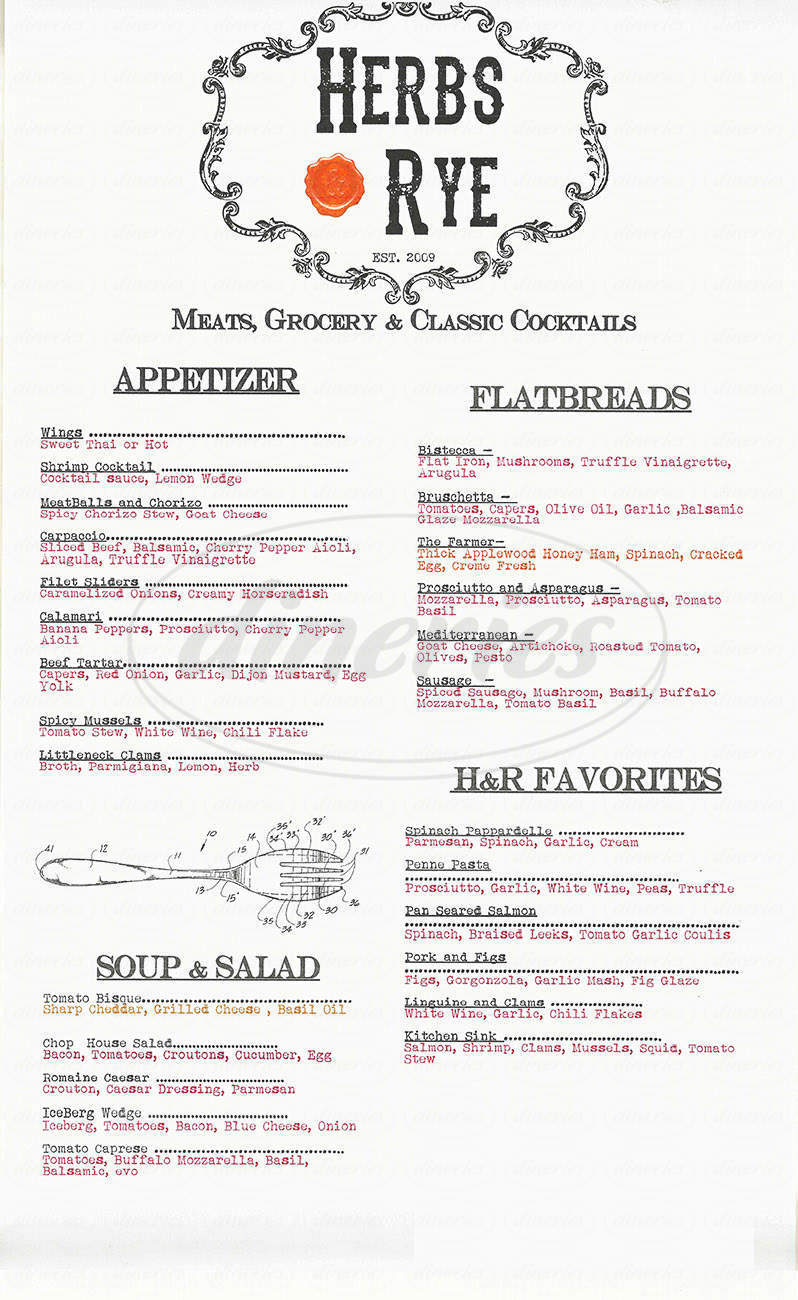 menu for Herbs & Rye