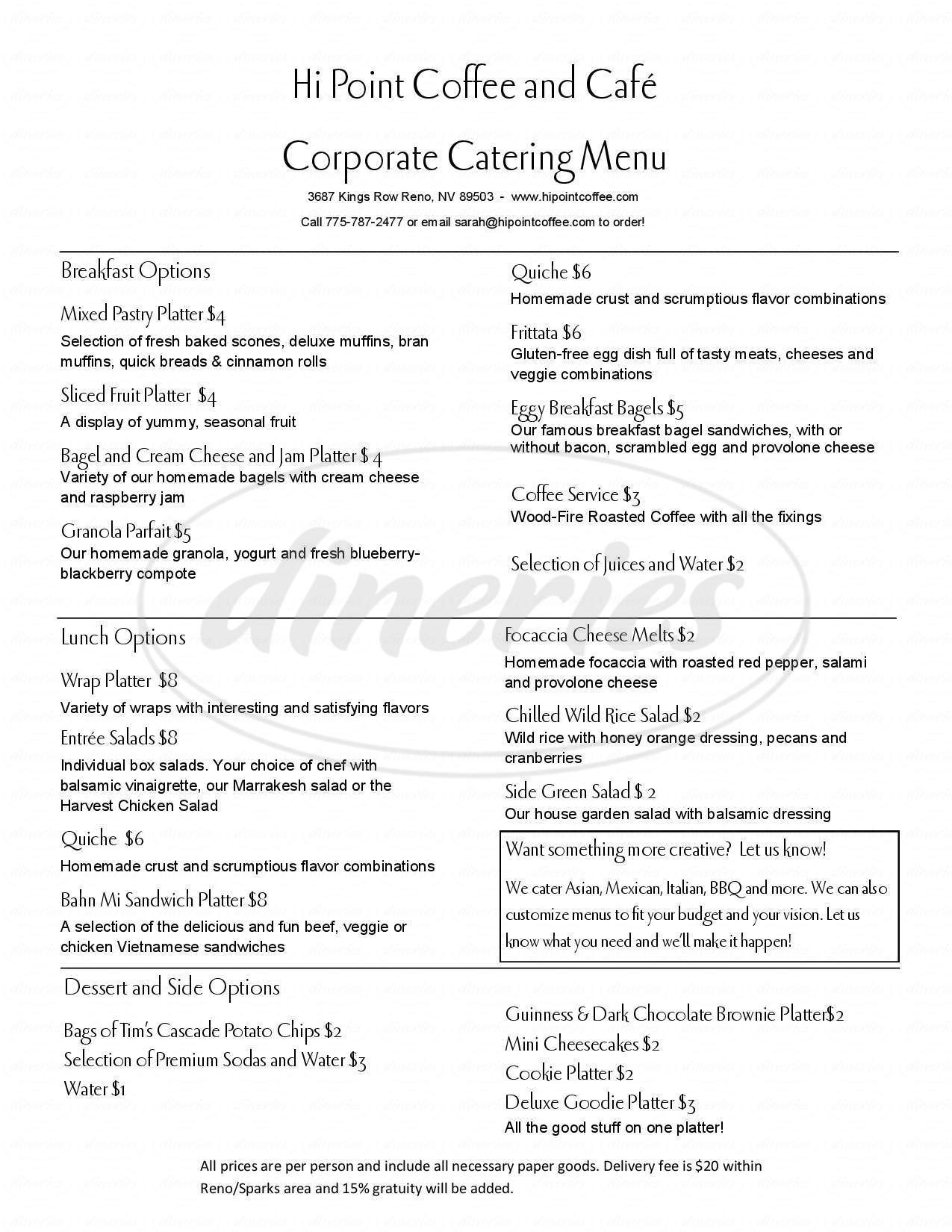 menu for Hi Point Coffee & Cafe