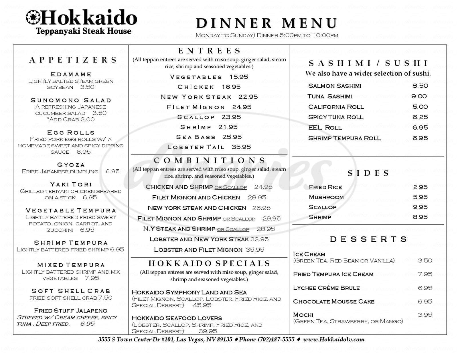 menu for Hokkaido Teppanyaki Steak House