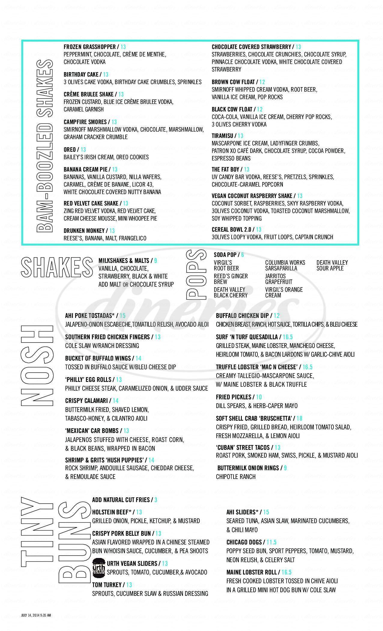 menu for Holsteins Shakes and Buns