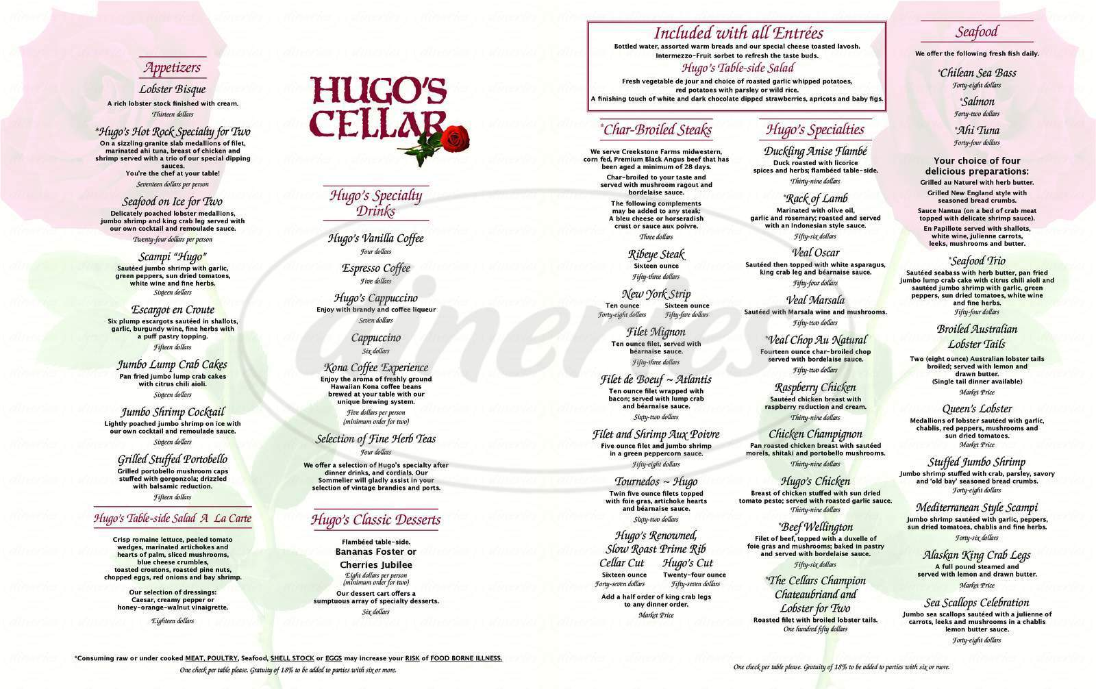 menu for Hugo's Cellar
