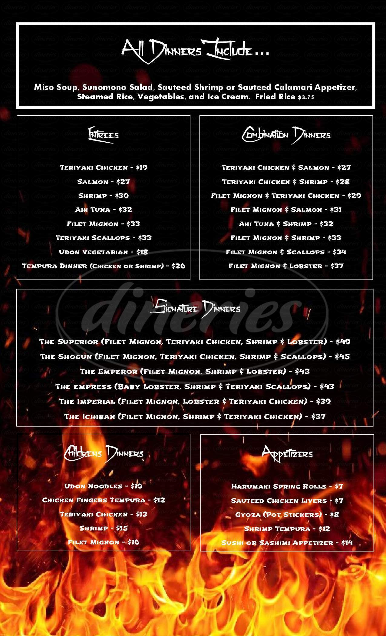 menu for Ichiban Japanese Steak House & Sushi Bar
