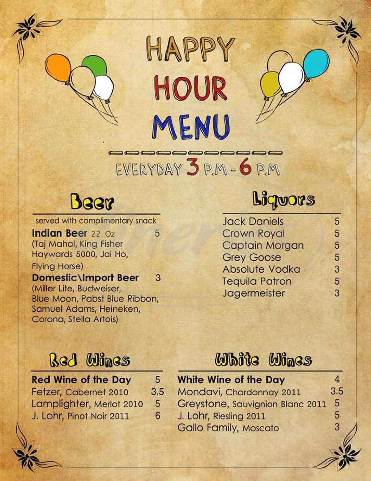 menu for India Masala Bar and Grill