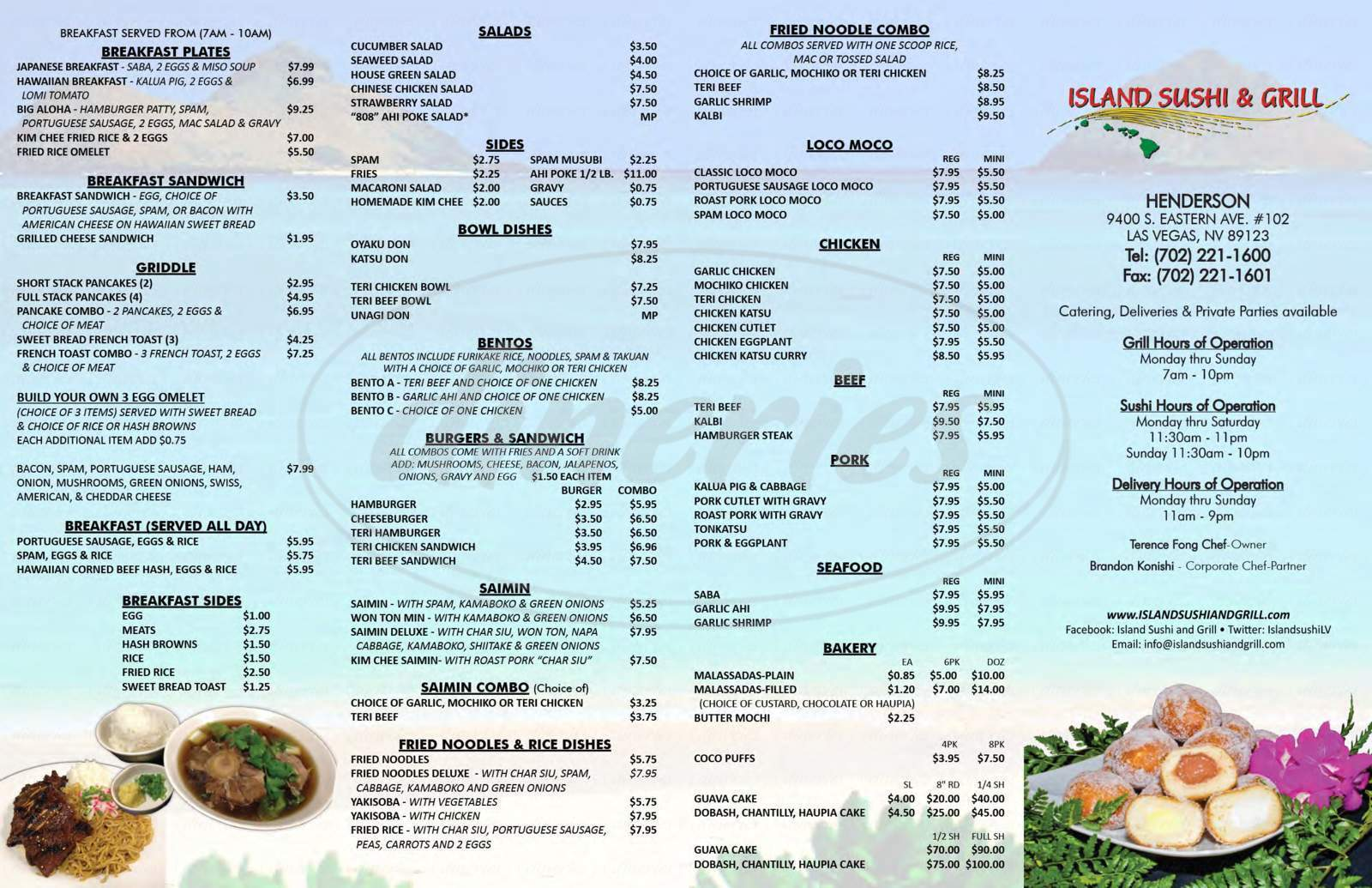 menu for Poke Express