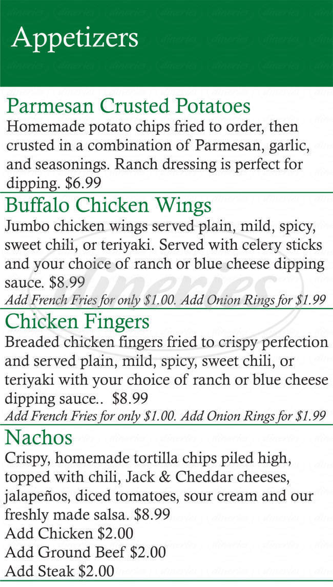 menu for Jackson's Bar & Grill