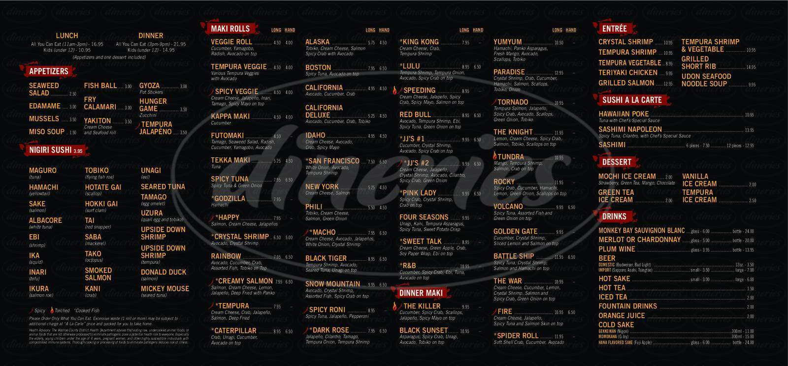 menu for JJ Sushi