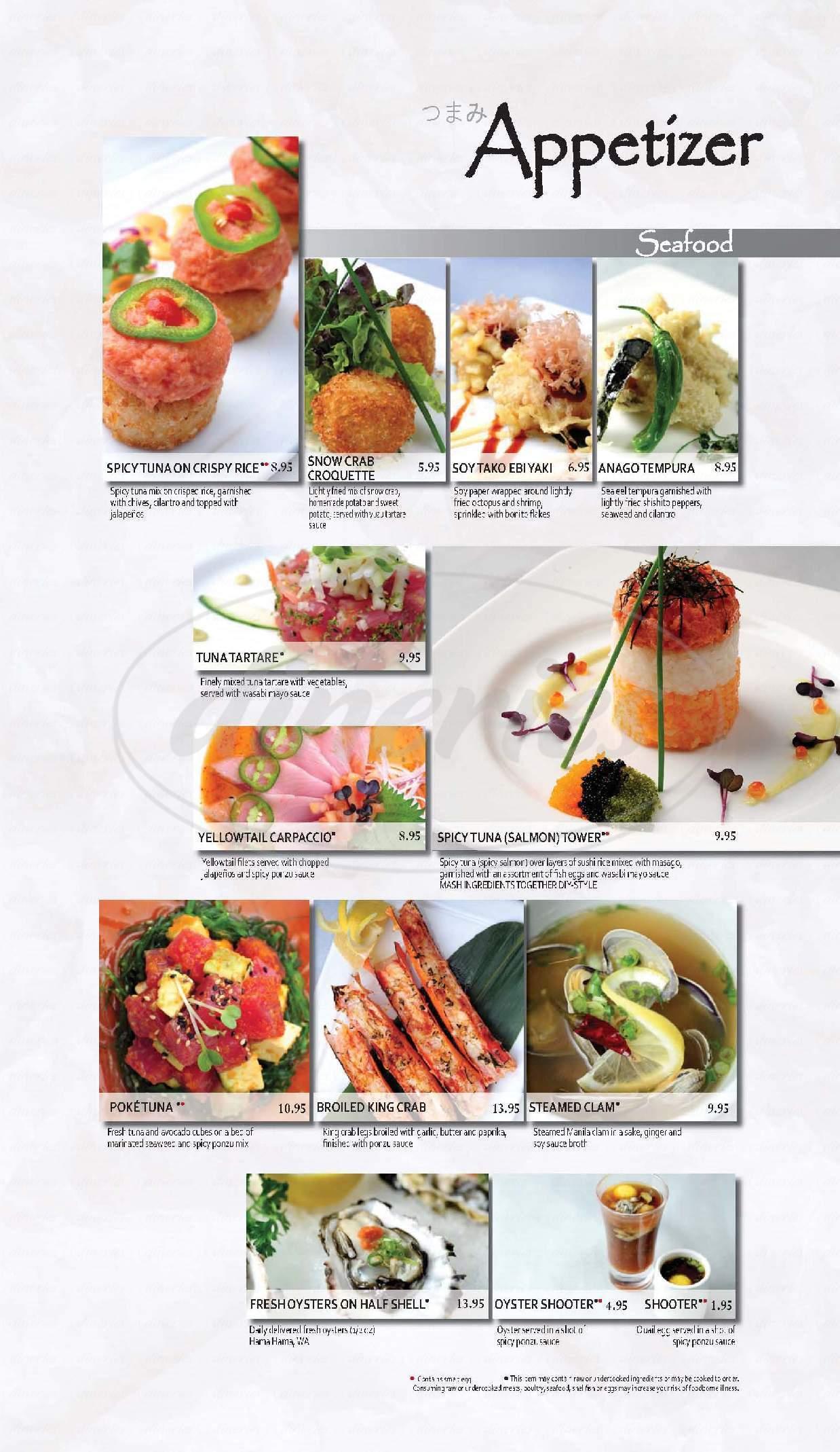 menu for Kabuki Japanese Restaurant