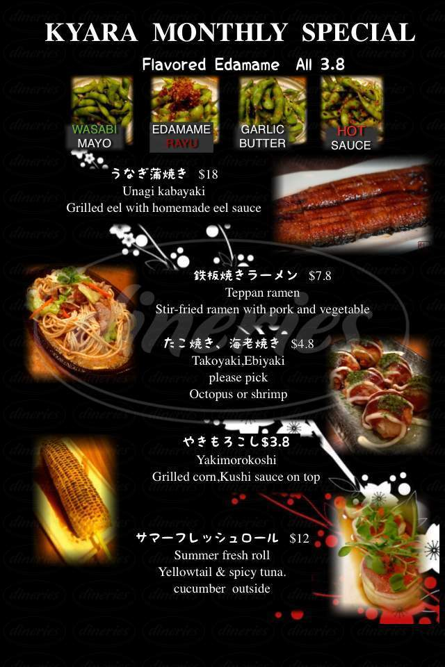 menu for Kyara Japanese Tapas