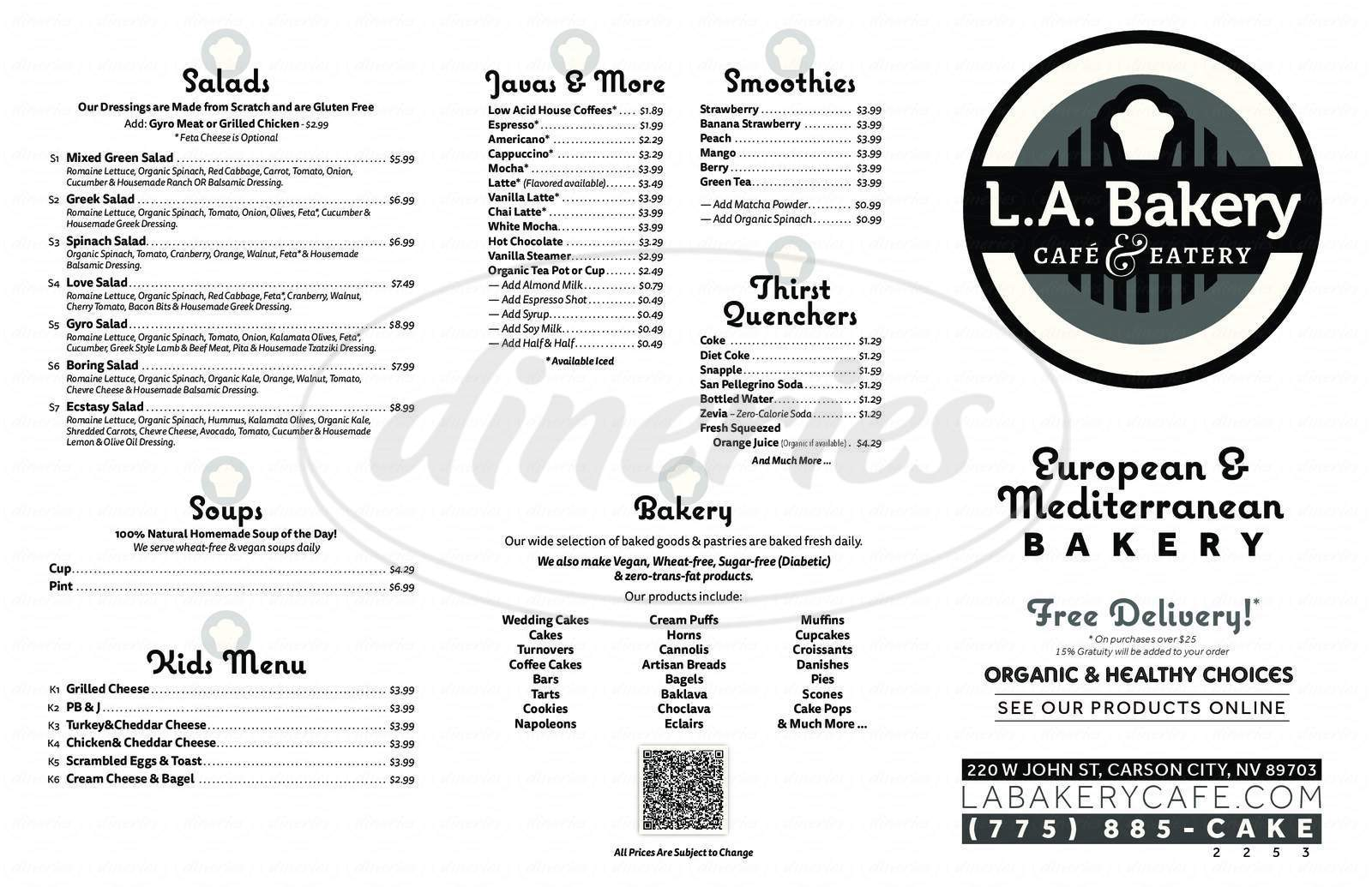 menu for LA Bakery