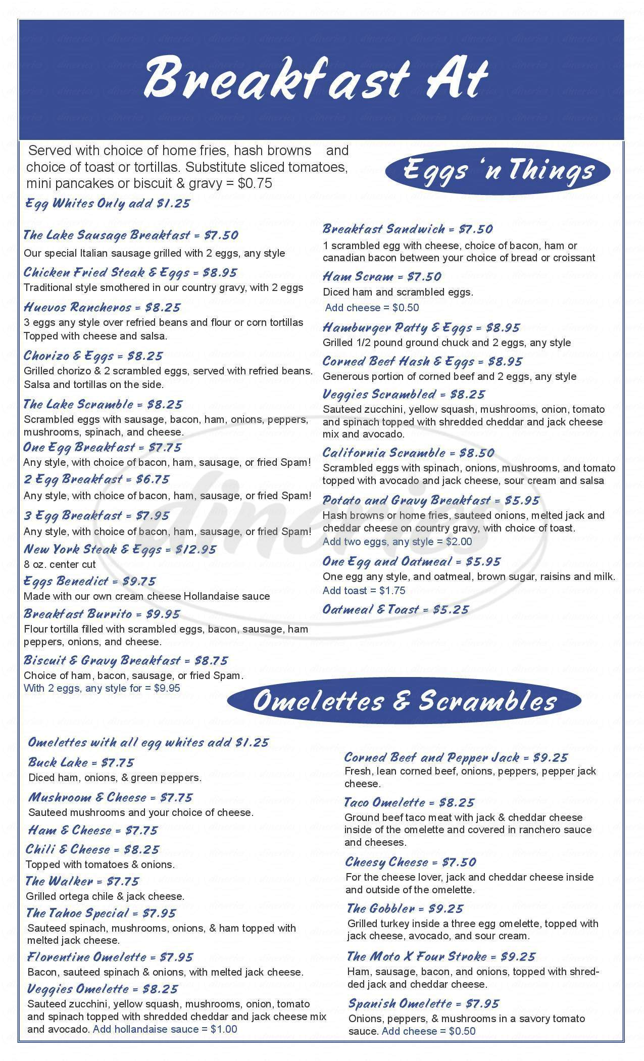 menu for The Lake Bar & Grill
