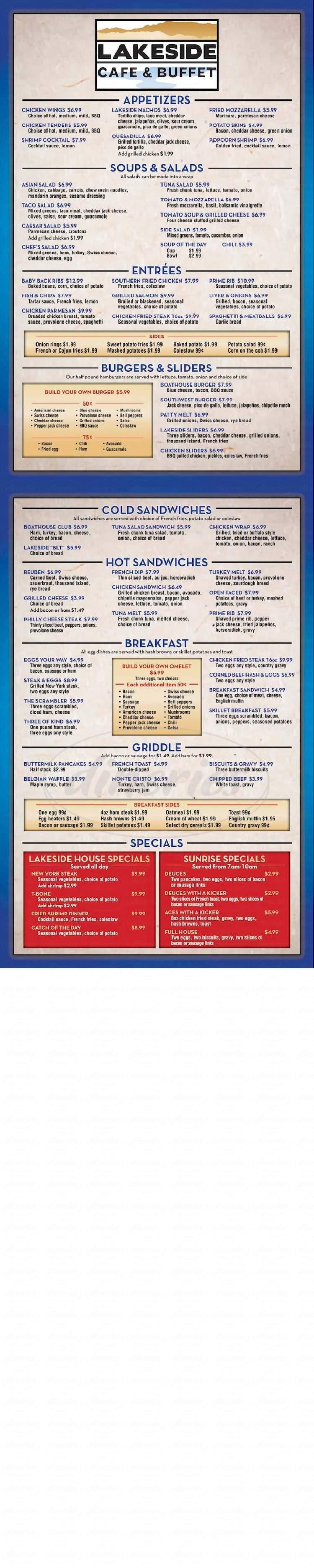 menu for Lakeside Casino & RV Park