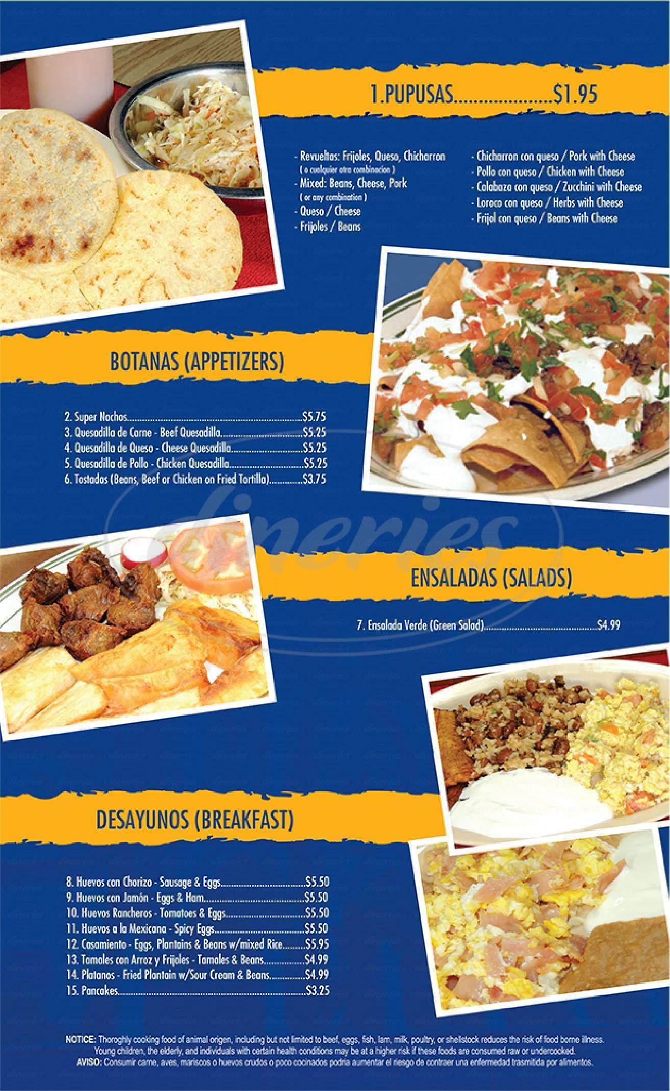 Big menu for Las Pupusas, Las Vegas