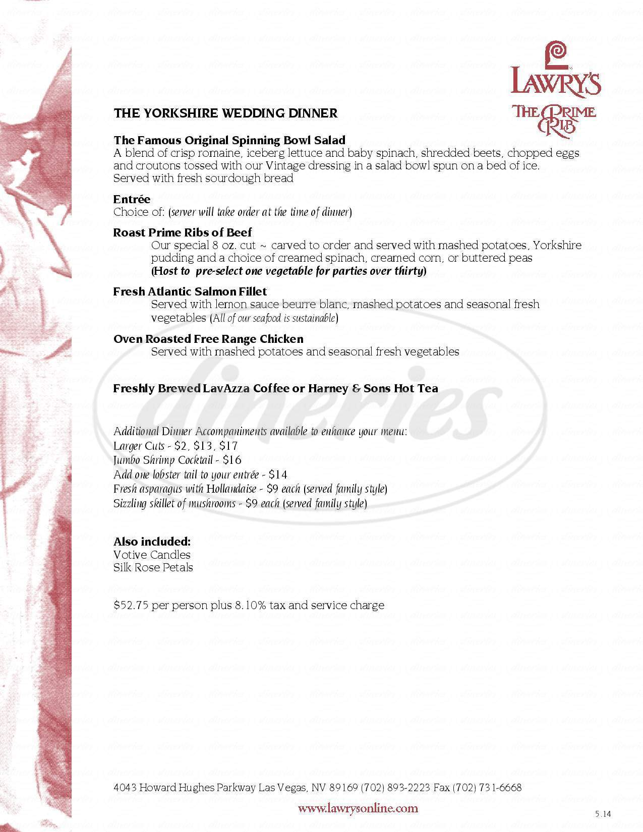menu for Lawry's The Prime Rib