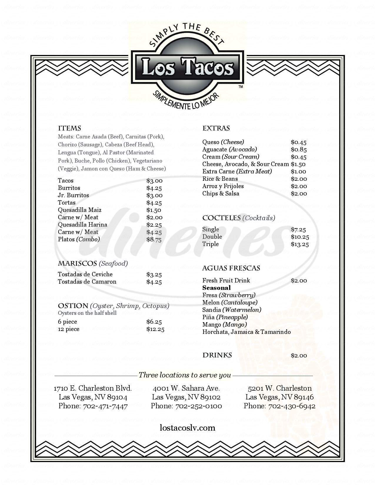 menu for Los Tacos