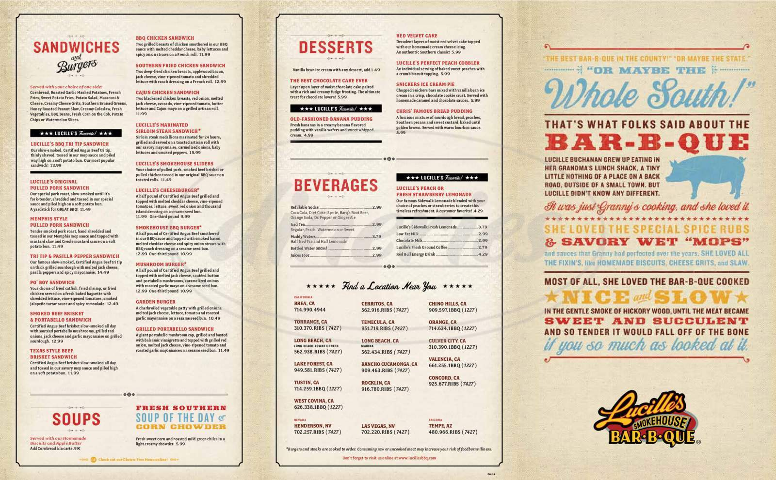 menu for Lucille's Smokehouse Bar-B-Que