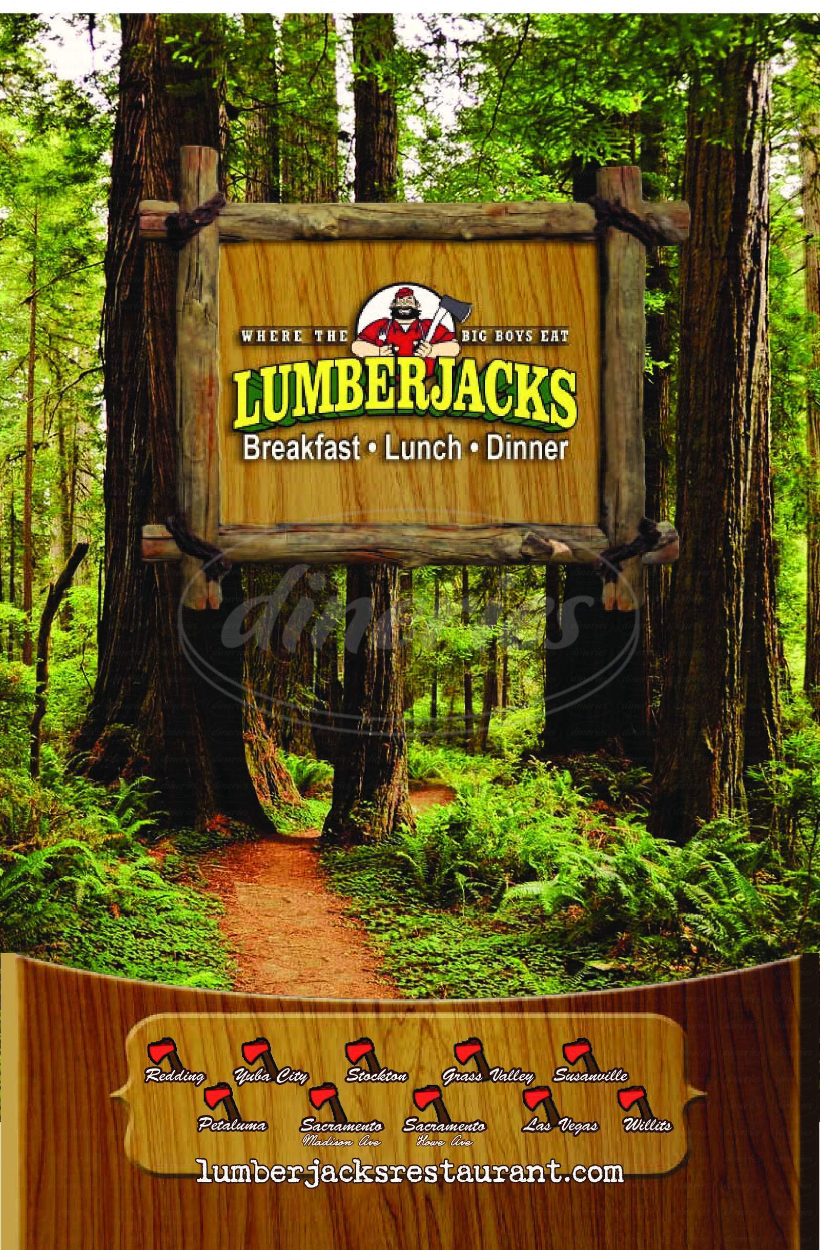 menu for Lumberjacks