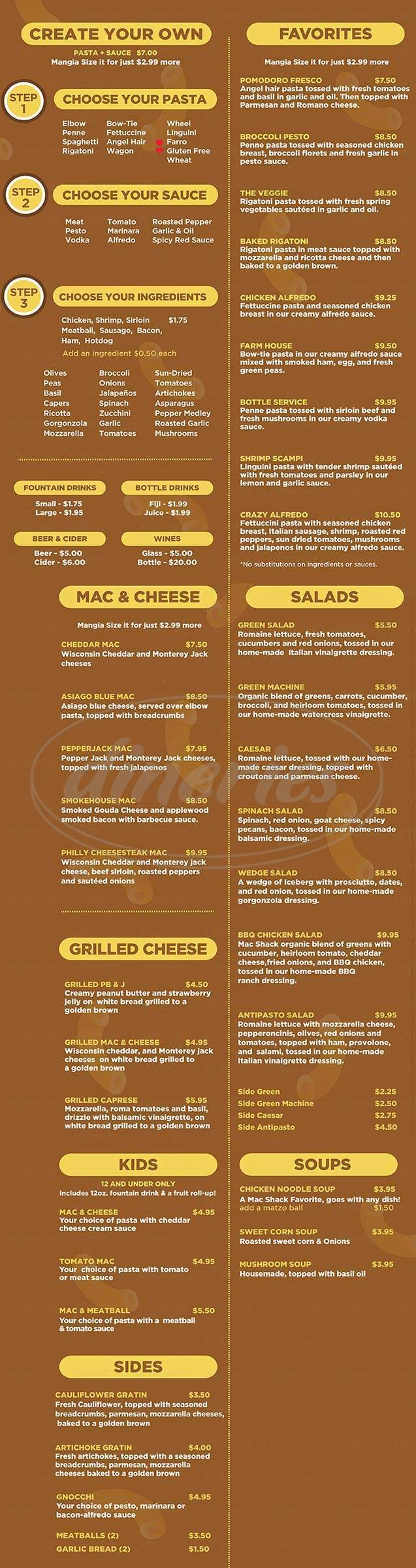 menu for Mac Shack Spring Valley