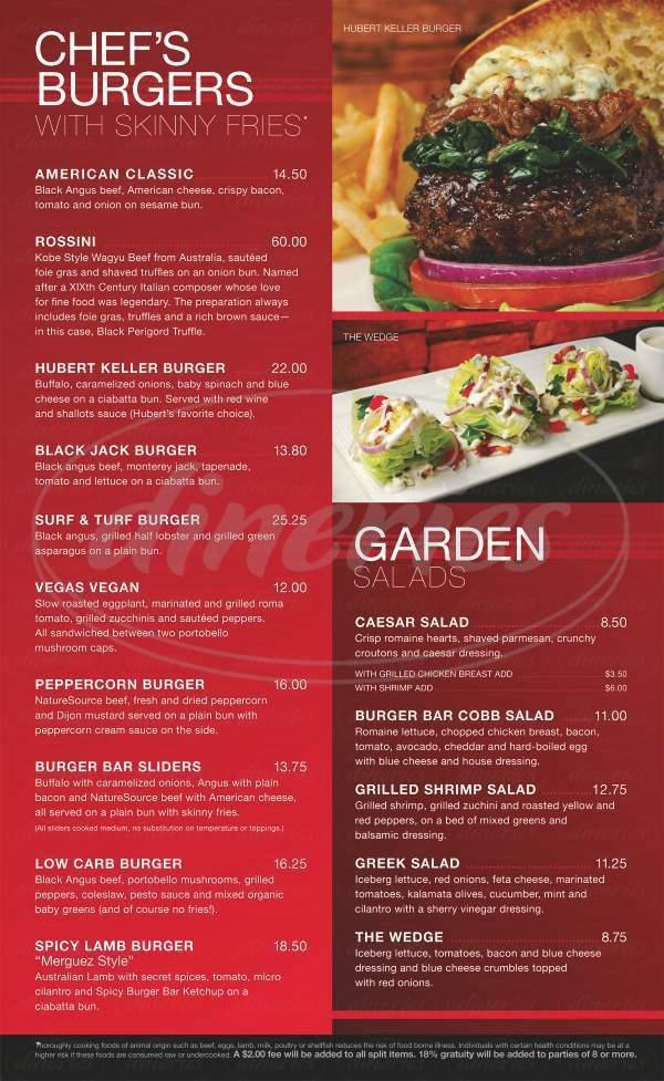 menu for Burger Bar
