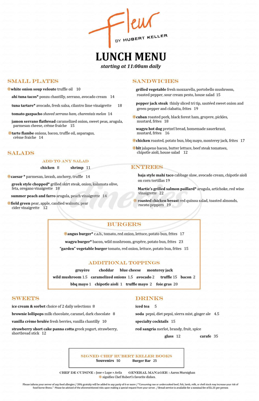 menu for Fleur by Hubert Keller