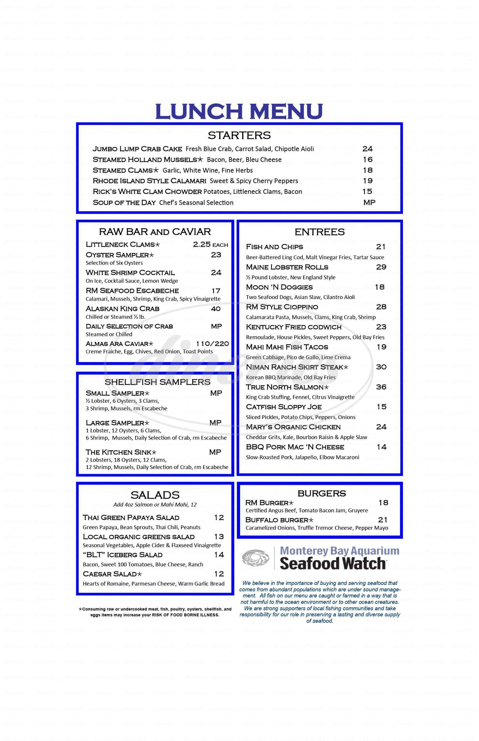 menu for RM Seafood