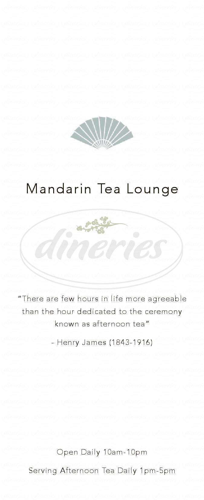 menu for Mandarin Oriental Tea Lounge