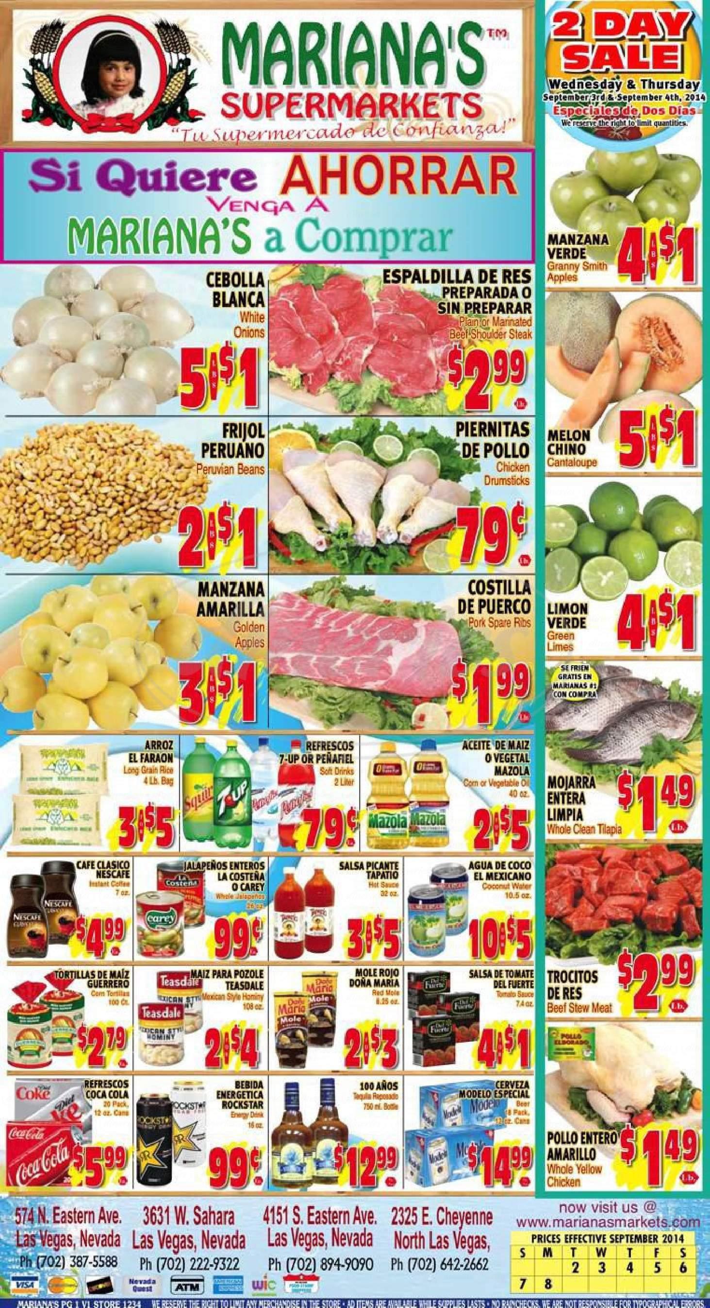 menu for Mariana's Supermarkets