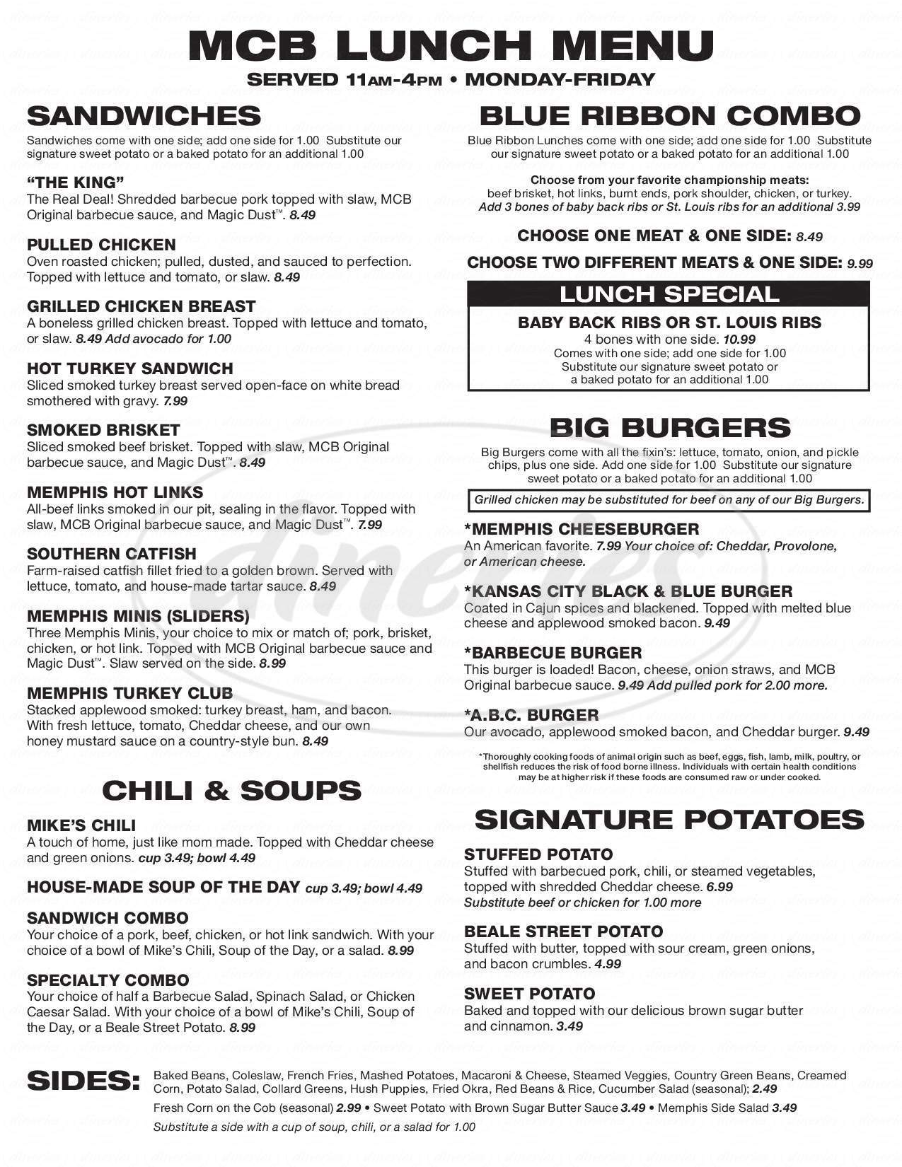 menu for Memphis Championship Barbecue