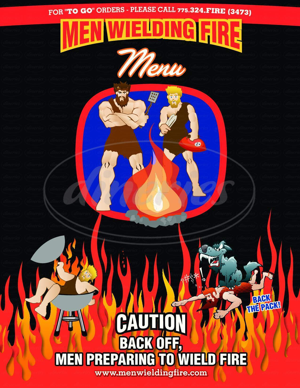 menu for Men Wielding Fire Restaurant