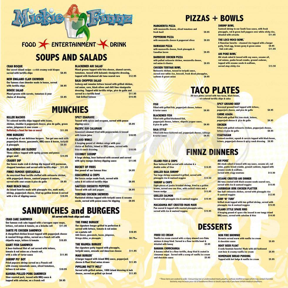menu for Mickie Finnz