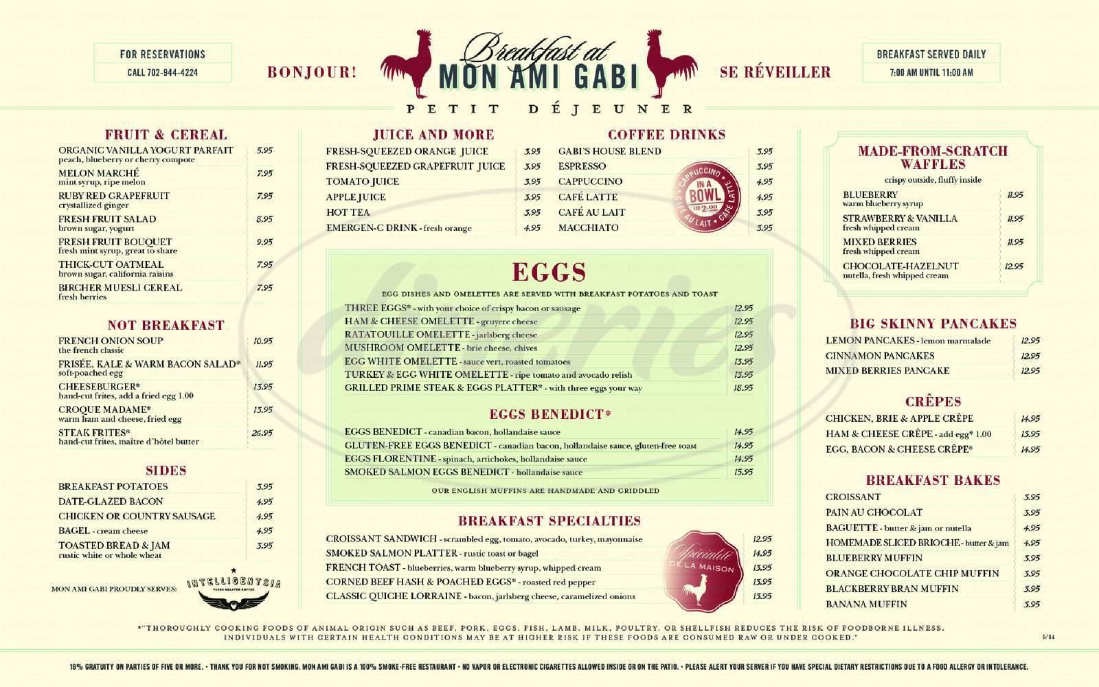 menu for Mon Ami Gabi